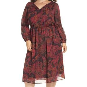 Maggy London Tie Midi paisley keyhole dress 9012